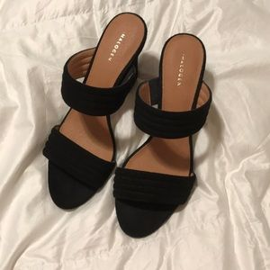 halogen black two strap heels